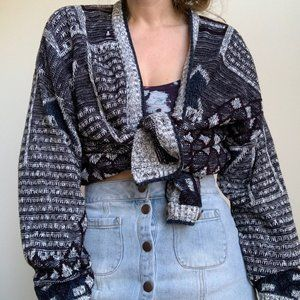 Vintage Sweaters - Patterned Slouchy Knit Cardigan Crop